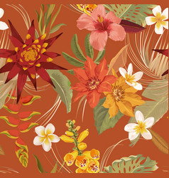 Tropic floral seamless autumn pattern vector