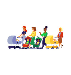 various mom and bawith children in carriage vector image