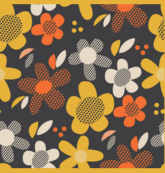 vintage colors geometric floral seamless pattern vector image