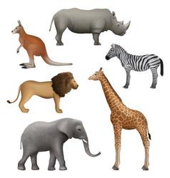 wild realistic animals elephant kangaroo lion vector image