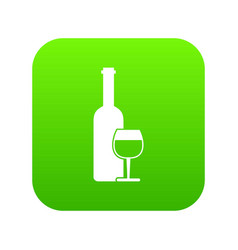 wine bottle and glass icon digital green vector image