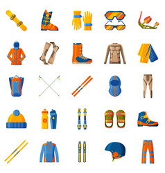 Winter sport icon collection set with equipment vector