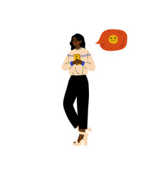 young african american woman chatting online on vector image