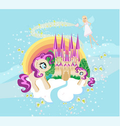 fairytale frame with castle and unicorns vector image