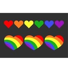 gay LGBT rainbow hearts set vector image