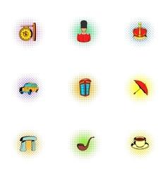 United kingdom icons set pop-art style vector