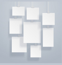 blank white image and photo frames on wall vector image vector image