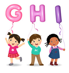 cartoon kids holding letter ghi shaped balloons vector image