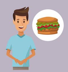 colorful poster half body man and icon hamburger vector image vector image