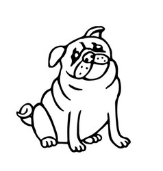 cute outline pug isolated vector image vector image