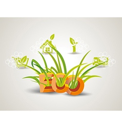 Ecology icon set Letters ECO with green grass vector image vector image