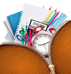 Education background with school supplies and open vector image vector image
