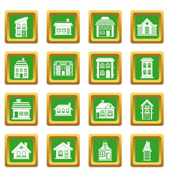 house icons set green vector image
