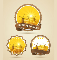 Set of windmills labels vector image vector image