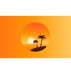 Collection of beach scenery silhouettes vector image