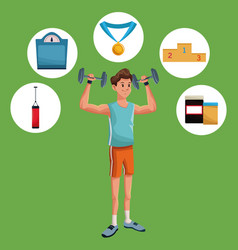 Man sports weight training gym items vector