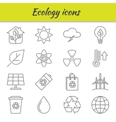 Outline icons set Ecology vector image