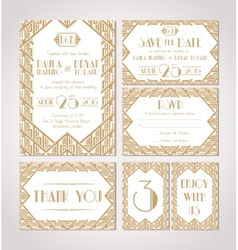 Save The Date Set Of Wedding Invitation Cards vector image