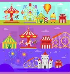 amusement park for kids banners vector image vector image