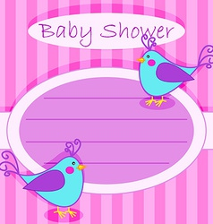 Bird baby shower invitation-girl vector image vector image