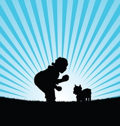 Child happy with dog in nature silhouette vector