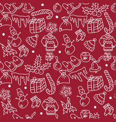 christmas red background hand drawn white vector image vector image