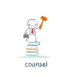 counsel stands on a pile of books vector image vector image