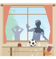 Football breaks window vector