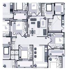 Grey House Plan vector image vector image