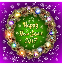 Happy 2017 New Year text for greeting card Golden vector image