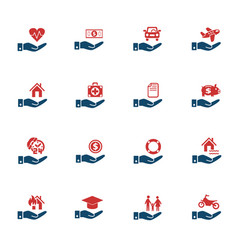 insurance hand icon set vector image vector image