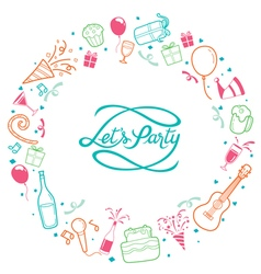 Party Letter And Icons On Round Frame vector image vector image