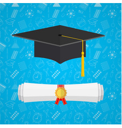 university student cap and diploma vector image
