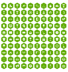 100 awards icons hexagon green vector