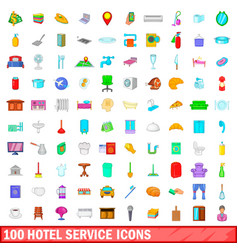 100 hotel service icons set cartoon style vector image