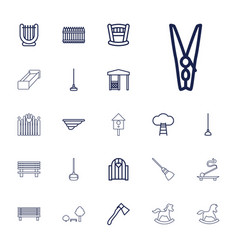 22 wooden icons vector