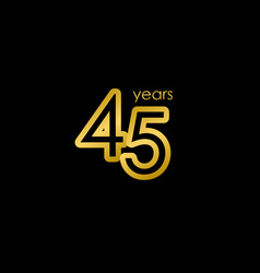 45 years anniversary elegant gold celebration vector