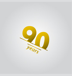 90 years anniversary celebration gold line vector
