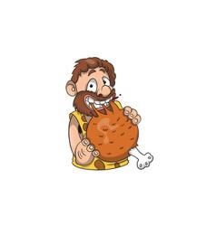 A shy caveman enjoying a drumstick vector