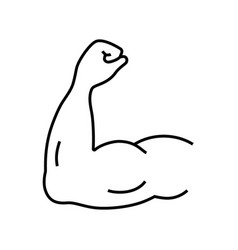 Arm muscle line icon strength symbol for your vector