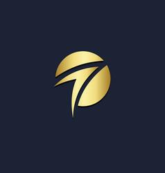 Arrow up curve round gold logo vector