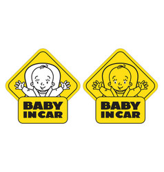 Baby in car seat back window sticker or sign vector