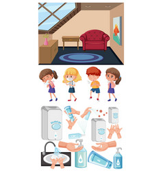 background scene with clean room and set sick vector image