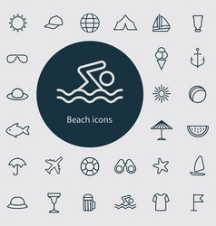 beach outline thin flat digital icon set vector image