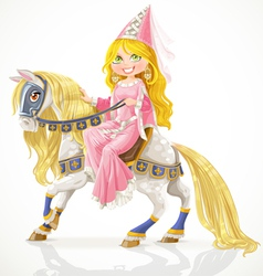 Beautiful princess on a white horse vector