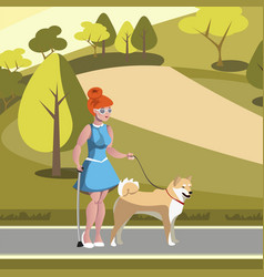 blind woman walking with dog in park vector image