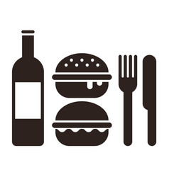 Burgers knife fork and bottle vector