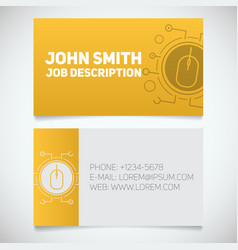 Business card print template with computer mouse vector