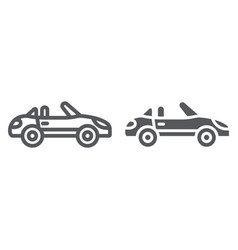 cabriolet line and glyph icon transport and drive vector image