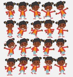 cartoon character black girl set with different vector image